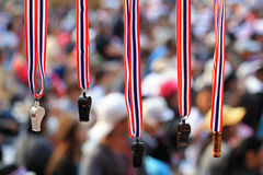 Whistles with Thailand  flag lanyard hanging for sale Royalty Free Stock Photos