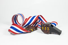 Whistles with Thailand national flag lanyard Stock Photos