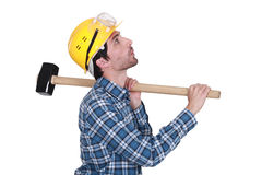 Whistling construction worker Stock Image