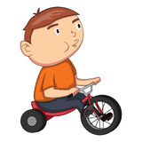 Whistling and cycling boy cartoon Stock Photos