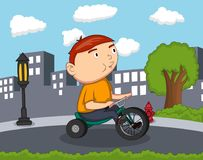 Whistling and cycling boy cartoon Royalty Free Stock Image