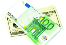 whit долларов кредитки изолированный евро Стоковое Изображение