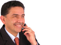 Whit do homem de negócios um telefone de pilha Imagens de Stock Royalty Free