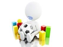 whit recém-nascido do caráter 3D mais paicifier e brinquedos Imagens de Stock