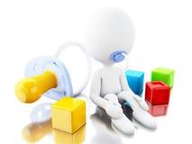 whit recém-nascido do caráter 3D mais paicifier e brinquedos Foto de Stock Royalty Free