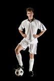 Whit van de voetballer bal Stock Afbeelding