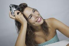 Whit van de vrouw camera Royalty-vrije Stock Fotografie