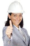 Whit van de vrouw duim omhoog Royalty-vrije Stock Afbeeldingen