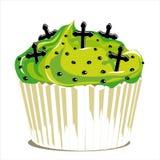 Whit van Halloween cupcake kruisen Stock Afbeeldingen