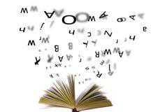 Whit van het boek brieven stock foto's