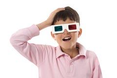 Whit van het kind 3d glazen Stock Fotografie