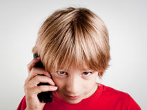 Whit van het kind telefoon Stock Foto
