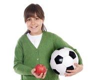 Whit van het meisje bal en appel Stock Afbeeldingen