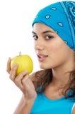 Whit van het meisje een appel Royalty-vrije Stock Afbeeldingen