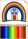 Whit van kleurpotloden huis over de regenboog Stock Afbeelding