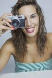 Whit van vrouwen camera Stock Afbeelding