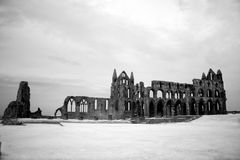 Whitby Abbey castle, ruined Benedictine abbey sited on Whitby`s Stock Image