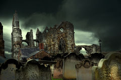 Whitby abbey and cemetery Stock Photo