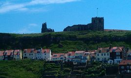 Whitby abbey. Distant view from the harbour Stock Photography