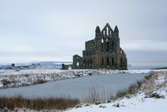 Whitby Abbey ,North Yorkshire. The ruins of the medieval Whitby Abbey ,North Yorkshire ,in the snow royalty free stock photography