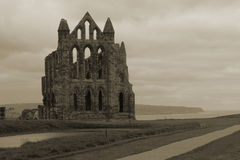 Whitby Abbey Overlooking Bay. Whitby Abbey (of Dracula fame) and overlooking the bay of Whitby, Yorkshire, UK Royalty Free Stock Photography