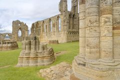 Whitby abbey ruin, yorkshire, uk. Solid stone structure of Whitby Abbey ruin in Yorkshire, famous for providing inspiration for Bram Stoker`s Dracula on an Royalty Free Stock Photography