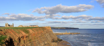 Whitby Abbey ruins and cliffs from Cleveland Way. Royalty Free Stock Images