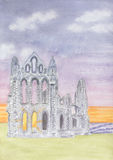 Whitby Abbey Ruins. Painting of the ruins of Whitby Abbey Stock Illustration