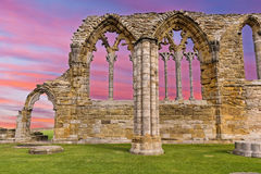 Whitby Abbey Ruins sunset in England Stock Images