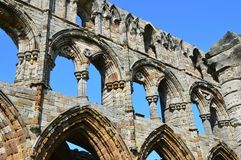 Whitby Abbey stone work Stock Photography