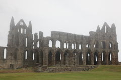 Whitby Abbey taken in fog, ruined Benedictine abbey sited on Whi Stock Photography