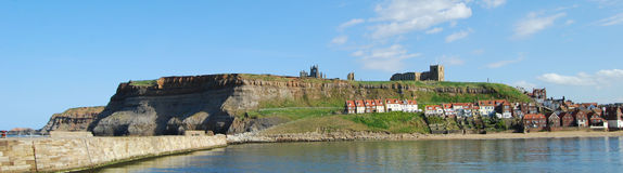 Whitby Abbey from the town's harbour wall. Royalty Free Stock Photos
