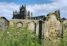 Whitby Abbey von den Gräbern Stockfotos