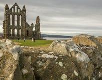 Whitby, Abbyen och en stenvägg Royaltyfria Bilder