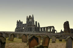 Whitby abey and cemetery Royalty Free Stock Photos