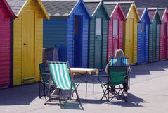 Whitby beach huts Stock Photos