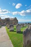 Whitby Churchyard och kyrkogård i North Yorkshire UK royaltyfria bilder