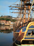 Whitby endeavor. Bark Endeavor at Whitby harbour, the home port of Captain James Cook Royalty Free Stock Photo