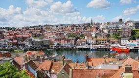 Panoramic View of Historic Whitby Harbor in Northern England royalty free stock image