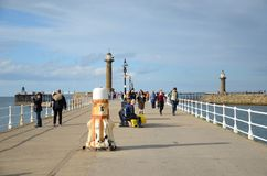 Whitby, fishing port,  coastal town, north yorkshire coastline,. Seaside resort Royalty Free Stock Photography