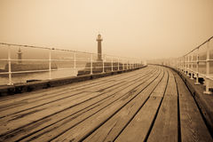 Whitby in fog Stock Photography