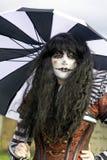 Whitby Goth周末- Abegail -扭转了小丑 库存照片
