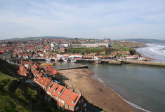 Whitby Harbor. The fishing and tourist town of Whitby on Yorkshires North Sea coast royalty free stock images