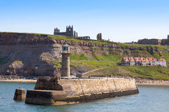 Whitby harbor with abbey Stock Photos