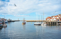 Whitby harbor, East Yorkshire. The Harbor at Whitby in East Yorkshire with a ' pirate  galleon ' carrying holiday-makers on trips round the Bay on 9th August Stock Image