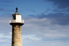 Whitby Harbor Light. Small lighthouse tower at the entrance to Whitby Harbor in Yorkshire, UK Stock Photos