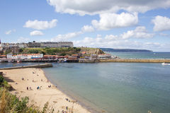 Whitby harbour and beach Royalty Free Stock Photos
