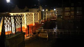 Whitby Harbour bridge at night. stock video