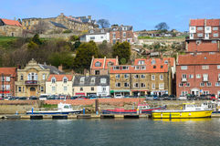 Whitby harbour Church Street side Royalty Free Stock Photo
