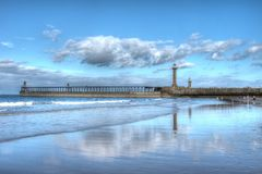 Whitby Harbour Lighthouse Stock Image